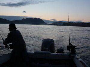 early morning salmon fishing